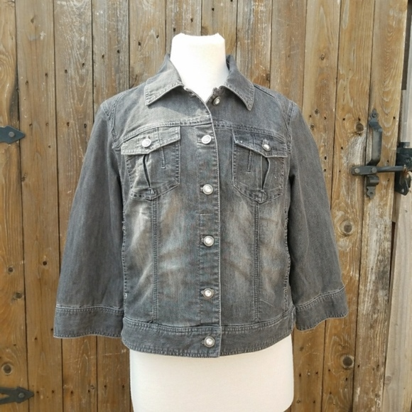 7b32c179b714 Chico's Jackets & Coats | Chicos Faded Black Button Front Denim Jean ...